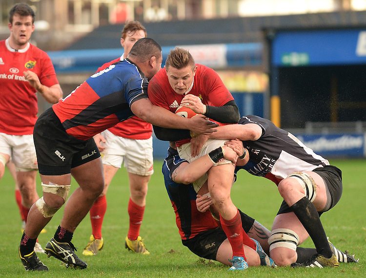 No way through for Munster A Cian Bohane<br /> <br /> Photographer Ian Cook/CameraSport<br /> <br /> Rugby Union - British and Irish Cup Pool 3 - Ospreys Premiership Select v Munster A - Sunday 20th December 2015 - Brewery Field, Bridgend<br /> <br /> &copy; CameraSport - 43 Linden Ave. Countesthorpe. Leicester. England. LE8 5PG - Tel: +44 (0) 116 277 4147 - admin@camerasport.com - www.camerasport.com