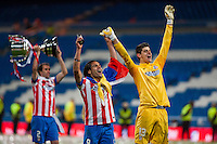 Falcao and Courtois celebrates the title of Spanish Cup 2013