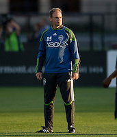 Sounders' assistant coach Brian Schmetzer is pictured during practice before the game against the Earthquakes at Buck Shaw Stadium in Santa Clara, California on April 2nd, 2011.   San Jose Earthquakes and Seattle Sounders are tied 2-2.