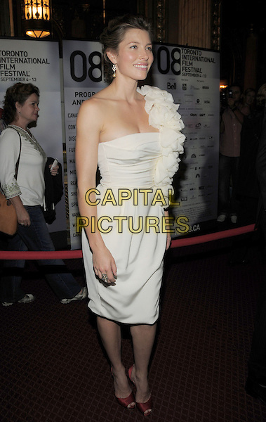 "JESSICA BIEL .""Easy Virtue"" Premiere held at the Elgin Theatre during the 33rd Annual Toronto International Film Festival, Toronto, Ontario, Canada,.08 September 2008..full length white cream one shoulder ruffles dress red pen tie shoes .CAP/ADM/BPC.©Brent Perniac/Admedia/Capital Pictures"
