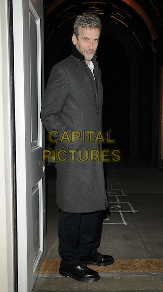 Peter Capaldi.The London Collections: Men GQ Dinner, Sketch bar & restaurant, Conduit St., London, England..January 9th, 2013.full length black jacket trousers grey gray side hand in pocket.CAP/CAN.©Can Nguyen/Capital Pictures.