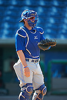 Dunedin Blue Jays catcher Danny Jansen (31) during practice before a game against the Clearwater Threshers on April 8, 2016 at Bright House Field in Clearwater, Florida.  Dunedin defeated Clearwater 8-3.  (Mike Janes/Four Seam Images)