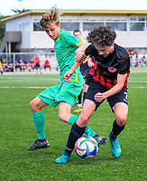 Action from the New Zealand Age Group Championships Under-15 Boys match between Central (green tops) and Mainland at Memorial Park in Petone, Wellington, New Zealand on Thursday, 14 December 2017. Photo: Dave Lintott / lintottphoto.co.nz