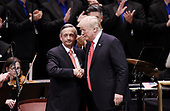 United States President Donald J. Trump and Pastor Robert Jeffress participate in the Celebrate Freedom Rally at the John F. Kennedy Center for the Performing Arts in Washington, DC, on July 1, 2017. <br /> Credit: Olivier Douliery / Pool via CNP