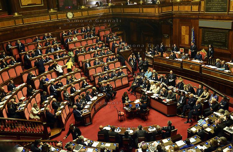 Roma, 2 Ottobre 2013<br /> Senato <br /> Il primo Ministro Enrico Letta durante il suo intervento dai banchi del Governo