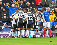 Alex Lacey of Gillingham is mobbed after scoring the second goal during Portsmouth vs Gillingham, Sky Bet EFL League 1 Football at Fratton Park on 6th October 2018