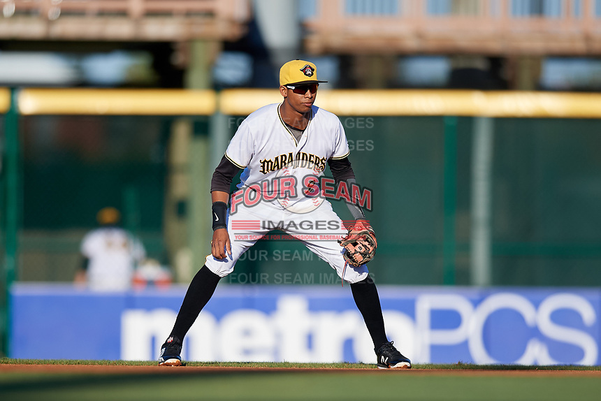 Bradenton Marauders second baseman Alfredo Reyes (2) during a game against the Tampa Tarpons on April 25, 2018 at LECOM Park in Bradenton, Florida.  Tampa defeated Bradenton 7-3.  (Mike Janes/Four Seam Images)