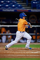 St. Lucie Mets third baseman Dale Burdick (7) follows through on a swing during the second game of a doubleheader against the Charlotte Stone Crabs on April 24, 2018 at First Data Field in Port St. Lucie, Florida.  St. Lucie defeated Charlotte 6-5.  (Mike Janes/Four Seam Images)