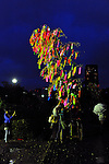 July 7th, 2012 : Tokyo, Japan -  A bamboo with people's wishes was lightened up at Tanabata Festival, a traditional festival on July 7 every year, at Zojoji, or Zojo Temple, at Shibakouen, Minato, Tokyo, Japan on July 7, 2012.  Even though the festival was supposed to celebrate stars, it was raining and cloudy this year. (Photo by Koichiro Suzuki/AFLO).