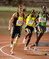 Josephet Kithill (right) winning the 1500m run in a time of 3:47.51sec. over Shane Stroup (left) 3:47.85sec. at the Jamaica International Invitational Meet on Saturday, May 3rd. 2008. Photo by Errol Anderson, The Sporting Image.