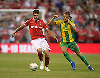 Nottingham Forest's Tobias Figueiredo battles with  West Bromwich Albion's Jay Rodriguez<br /> <br /> Photographer Mick Walker/CameraSport<br /> <br /> The EFL Sky Bet Championship - Nottingham Forest v West Bromwich Albion - Tuesday August 7th 2018 - The City Ground - Nottingham<br /> <br /> World Copyright &copy; 2018 CameraSport. All rights reserved. 43 Linden Ave. Countesthorpe. Leicester. England. LE8 5PG - Tel: +44 (0) 116 277 4147 - admin@camerasport.com - www.camerasport.com