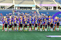 Orlando, FL - Thursday June 23, 2016: Houston Dash, National Anthem during a regular season National Women's Soccer League (NWSL) match between the Orlando Pride and the Houston Dash at Camping World Stadium.