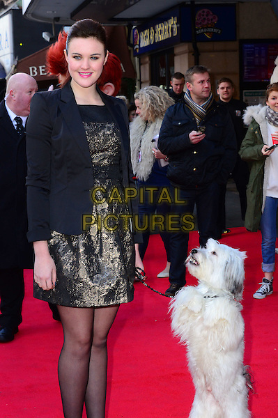 LONDON, ENGLAND - FEBRUARY 2: Ashleigh Butler and Pudsey  attends Mr Peabody And Sherman 3D VIP gala screening at Vue West End (Leicester Square), 3 Cranbourn Street, on February 2, 2014, in London, England.  <br /> CAP/JOR<br /> &copy;Nils Jorgensen/Capital Pictures