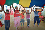 War-weary children in Rafah, in the south of Gaza, participate in a psychosocial program run by the Department of Service for Palestinian Refugees of the Near East Council of Churches, a member of the ACT Alliance, and funded in part by the Pontifical Mission for Palestine. The program is designed to help the children cope better with stress caused by the 2014 war with Israel and the continuing hardship provoked by the Israeli siege of the Palestinian territory.