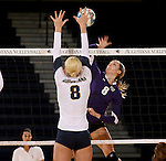 SIOUX FALLS, SD - OCTOBER 14: Sydney Hunsley #8 from Augustana looks to block a kill by Emily Johnson #8 from the University of Sioux Falls in the first game of their match Tuesday night at the Elmen Center. (Photo by Dave Eggen/Inertia)
