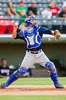 Catcher Nevin Ashley #38 of the Durham Bulls makes a throw to second base during the game against the Charlotte Knights at Knights Stadium on August 2, 2011 in Fort Mill, South Carolina.  The Bulls defeated the Knights 18-3.   (Brian Westerholt / Four Seam Images)
