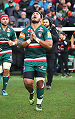 6th January 2018, Welford Road Stadium, Leicester, England; Aviva Premiership rugby, Leicester Tigers versus London Irish; Manu Tuilagi (Tigers) prays his God  as he runs out at the start of the match