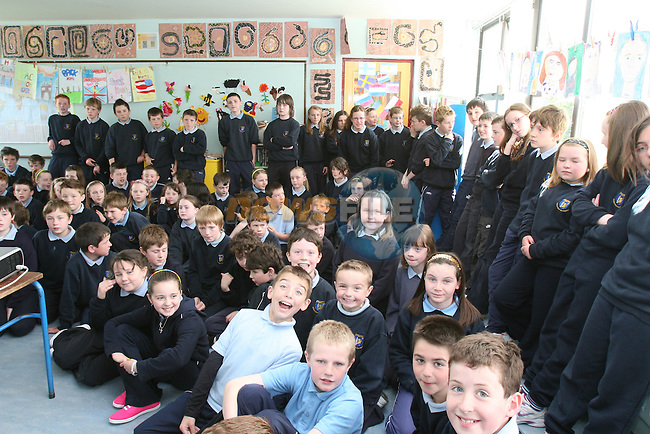 Robert Heneghan, Ciara Nolan, Ciaran Faulkner, Grainne McCloskey, Conor healy, Ciaran McCabe and Jessica Booth in the boat when the Coastguard visited Fieldstown National School....Photo NEWSFILE/Jenny Matthews.(Photo credit should read Jenny Matthews/NEWSFILE)....This Picture has been sent you under the condtions enclosed by:.Newsfile Ltd..The Studio,.Millmount Abbey,.Drogheda,.Co Meath..Ireland..Tel: +353(0)41-9871240.Fax: +353(0)41-9871260.GSM: +353(0)86-2500958.email: pictures@newsfile.ie.www.newsfile.ie.FTP: 193.120.102.198.