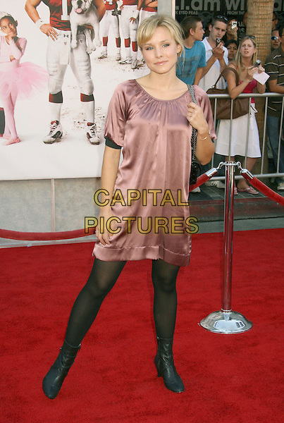 "KRISTEN BELL.""The Game Plan"" World Premiere at the El Capitan Theater, Hollywood, California, USA,.23 September 2007..full length purple silk dress black tights.CAP/ADM/RE.©Russ Elliot/AdMedia/Capital Pictures."