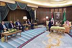 Palestinian President Mahmoud Abbas meets with Saudi King Salman bin Abdul Aziz in Riyadh, Saudi Arabia on October 16, 2019. Photo by Thaer Ganaim