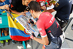 Alberto Contador (ESP) Trek-Segafredo with fans at sign before Stage 15 of the 2017 La Vuelta, running 129.4km from Alcal&aacute; la Real to Sierra Nevada. Alto Hoya de la Mora. Monachil, Spain. 3rd September 2017.<br /> Picture: Unipublic/&copy;photogomezsport | Cyclefile<br /> <br /> <br /> All photos usage must carry mandatory copyright credit (&copy; Cyclefile | Unipublic/&copy;photogomezsport)