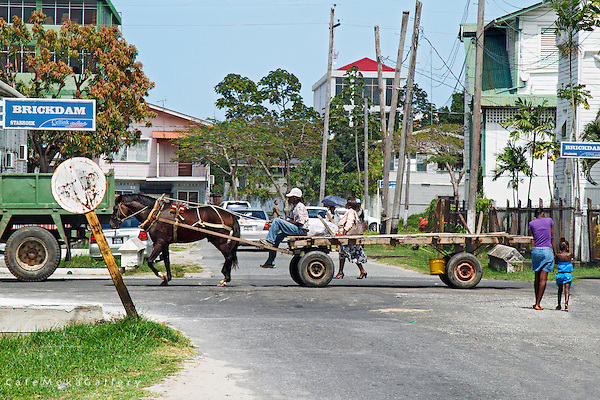 Street scene with horse cart passing - Brickdam = Stabroek