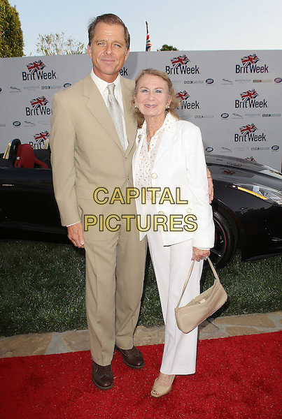 "Maxwell Caulfield & Juliet Mills.7th Annual BritWeek Festival ""A Salute To Old Hollywood"" Launch Party held at the British Consul General's Residence, Los Angeles, California, USA..April 23rd, 2013.full length white beige suit married husband wife.CAP/ADM/KB.©Kevan Brooks/AdMedia/Capital Pictures"