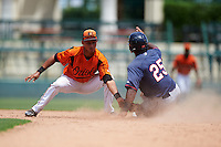 GCL Orioles shortstop Irving Ortega (1) tags Akil Baddoo (25) sliding safely into second base during a game against the GCL Twins on August 11, 2016 at the Ed Smith Stadium in Sarasota, Florida.  GCL Twins defeated GCL Orioles 4-3.  (Mike Janes/Four Seam Images)