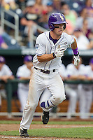 LSU Tigers shortstop Alex Bregman (8) runs to first base against the TCU Horned Frogs in the NCAA College World Series on June 14, 2015 at TD Ameritrade Park in Omaha, Nebraska. TCU defeated LSU 10-3. (Andrew Woolley/Four Seam Images)