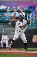 Staten Island Yankees center fielder Alex Junior (29) at bat during a game against the Aberdeen IronBirds on August 23, 2018 at Leidos Field at Ripken Stadium in Aberdeen, Maryland.  Aberdeen defeated Staten Island 6-2.  (Mike Janes/Four Seam Images)
