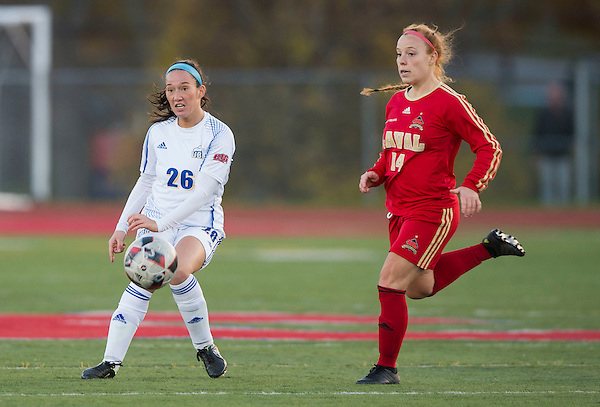 WOLFVILLE,NS:NOVEMBER 14, 2016 -- UBC Thunderbirds University of Laval Rouge et Or during U Sports Canada Women's Soccer National Championship soccer Acadia University, Wolfville, NS, November, 14, 2016. (Rich Lam/UBC Athletics Photo) <br /> <br /> ***MANDATORY CREDIT***