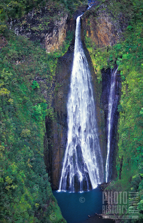 Manawaiopuna Falls (Jurassic Park Falls) in Hanapepe Valley, south Kaua`i. Owned by Robinson family.