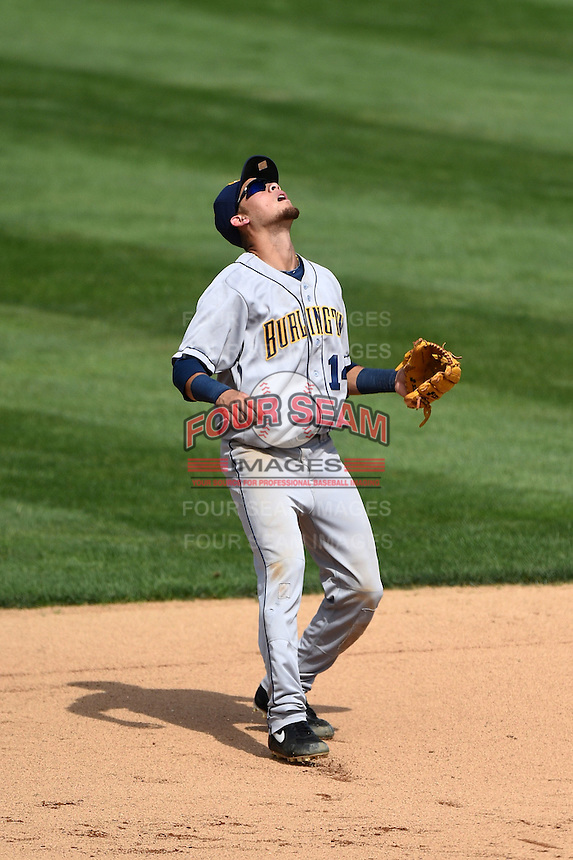 Burlington Bees shortstop Erick Salcedo (14) tracks down a pop up during a game against the Kane County Cougars on August 20, 2014 at Third Bank Ballpark in Geneva, Illinois.  Kane County defeated Burlington 7-3.  (Mike Janes/Four Seam Images)