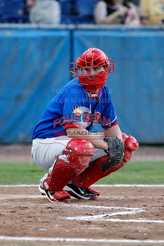 Auburn Doubledays catcher Jeremy Mayo #2 during a game against the Batavia Muckdogs at Dwyer Stadium on September 3, 2011 in Batavia, New York.  Auburn defeated Batavia 2-1.  (Mike Janes/Four Seam Images)