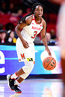 College Park, MD - NOV 29, 2017: Maryland Terrapins guard Channise Lewis (3) brings the ball up court during ACC/Big Ten Challenge game between Gerogia Tech and the No. 7 ranked Maryland Terrapins. Maryland defeated The Yellow Jackets 67-54 at the XFINITY Center in College Park, MD.  (Photo by Phil Peters/Media Images International)