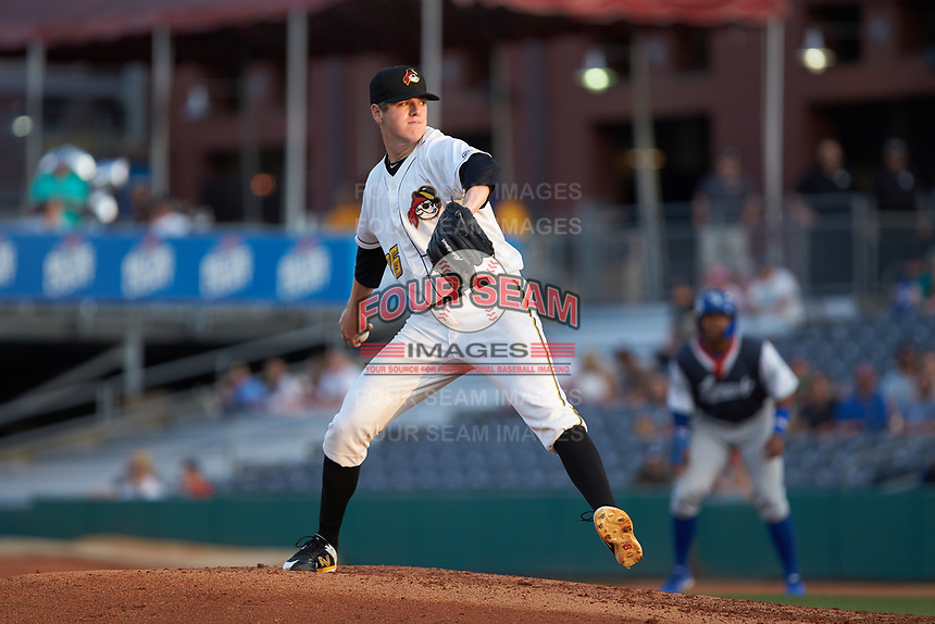 West Virginia Power starting pitcher Gavin Wallace (36) in action against the Lexington Legends at Appalachian Power Park on June 7, 2018 in Charleston, West Virginia. The Power defeated the Legends 5-1. (Brian Westerholt/Four Seam Images)