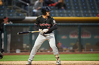 Josh Fuentes (7) of the Albuquerque Isotopes bats against the Salt Lake Bees at Smith's Ballpark on April 5, 2018 in Salt Lake City, Utah. Salt Lake defeated Albuquerque 9-3. (Stephen Smith/Four Seam Images)