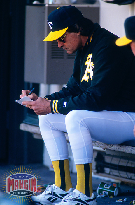 OAKLAND, CA - Manager Tony La Russa of the Oakland Athletics sits in the dugout during a game at the Oakland Coliseum in Oakland, California in 1994. Photo by Brad Mangin