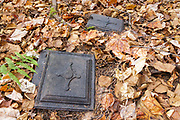 Part of a stove, a protected artifact, at logging Camp 2 of the abandoned Sawyer River Railroad. Incorporated in 1875, the Sawyer River Railroad was a ten-mile long logging railroad in the New Hampshire White Mountains town of Livermore. The removal of historical artifacts from federal lands without a permit is a violation of federal law.