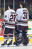Darren Rowe (UMass - 28), Kevin Moore (UMass - 30) - Sweden's Under-20 team played its last game on this Massachusetts tour versus the University of Massachusetts-Amherst Minutemen losing 5-1 on Saturday, November 6, 2010, at the Mullins Center in Amherst, Massachusetts.