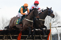 Midnight Spirt ridden by Hadden Frost (L) jumps alongside Only Hope ridden by Christian Williams in the West Norfolk Sporting Trust Selling Handicap Hurdle