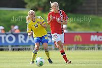 Fanny Andersson of Sweden battles with Synne Jensen of Norway during the UEFA Womens U19 Championships at Stebonheath park Sunday 25th August 2013. All images are the copyright of Jeff Thomas Photography-www.jaypics.photoshelter.com-07837 386244-Any use of images must be authorised by the copyright owner.