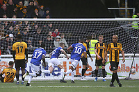 Peter Clarke (No 26) scores for Oldham and runs towards the away supporters to celebrate during Maidstone United vs Oldham Athletic, Emirates FA Cup Football at the Gallagher Stadium on 1st December 2018