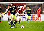 Nederland, Amsterdam, 5 november 2015<br /> Europa League<br /> Seizoen 2015-2016<br /> Ajax-Fenerbahce (0-0)<br /> Mehmet Topal Fenerbahce stopt Davy Klaassen, aanvoerder van Ajax af