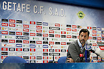 Getafe´s coach Quique Sanchez Flores speaks during a press conference after 2014-15 La Liga match at Alfonso Perez Coliseum stadium in Getafe, Spain. February 08, 2015. (ALTERPHOTOS/Victor Blanco)
