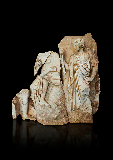 Roman Sebasteion relief  sculpture of Apollo and a Muse Aphrodisias Museum, Aphrodisias, Turkey.   Against a black background.<br /> <br /> On the left stood Apollo, one foot raised on a rock, playing his lyre which rests on top of the omphalos (the earth's navel stone, tied down at Delphi(. On the right stands a muse holding one arm of Apollos lyre.