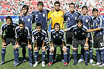 12 July 2007: Argentina's starting eleven.  Front row (l to r): Gabriel Mercado, Angel Di Maria, Maximiliano Moralez, Pablo Piatti, Ever Banega.  Back row (l to r): Claudio Yacob, Frederico Fazio, Sergio Romero, Matias Cahais, Emiliano Insua, Sergio Aguero. Argentina's Under-20 Men's National Team defeated Poland's Under-20 Men's National Team 3-1 in a  round of 16 match at the National Soccer Stadium (also known as BMO Field) in Toronto, Ontario, Canada during the FIFA U-20 World Cup Canada 2007 tournament.