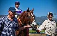 I'll Have Another, with jockey Mario Gutierrez wins the 2012 Santa Anita Derby at Santa Anita Park in Arcadia California on April 7, 2012.