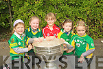 JERSEY GIRLS: Proudly wearing their Jerseys to School last Wednesday when the Sam Maguire Cup arrived to Lisselton NS was l-r: Katie Hannon, Amy Lynch, Aoife Donegan, Emma Kennelly and Mairead Barry.