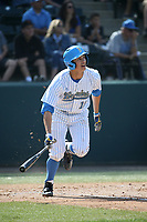 Jeremy Ydens (18) of the UCLA Bruins bats against the Arizona Wildcats at Jackie Robinson Stadium on March 19, 2017 in Los Angeles, California. UCLA defeated Arizona, 8-7. (Larry Goren/Four Seam Images)